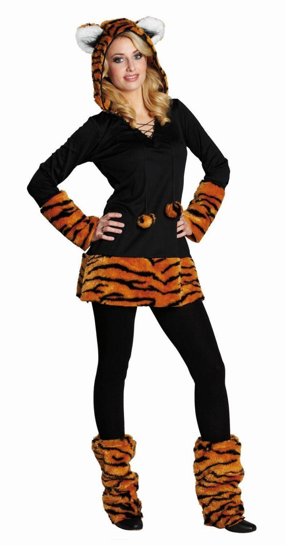 Karneval Damen Kostüm Kuschel Tiger - Faschingskram