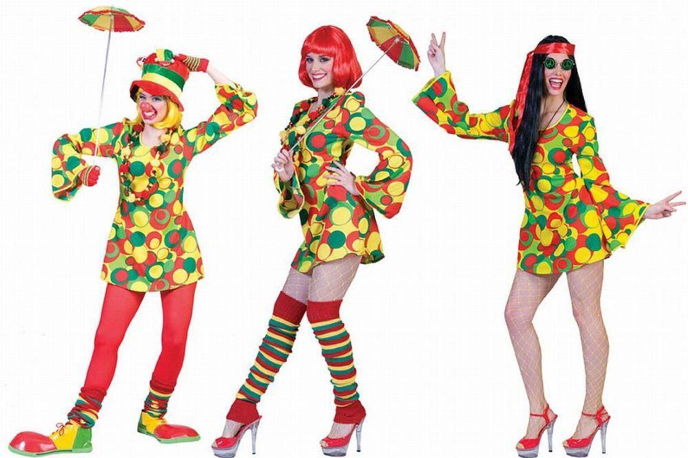 Karneval Damen Kostum Hippie Clown Faschingskram