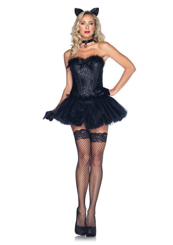 leg avenue karneval damen kost m katze black cat babe. Black Bedroom Furniture Sets. Home Design Ideas