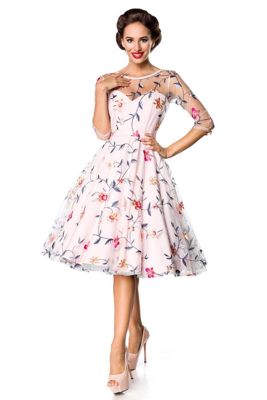 damen vintage kleid mit gestickten blumen rosa faschingskram. Black Bedroom Furniture Sets. Home Design Ideas