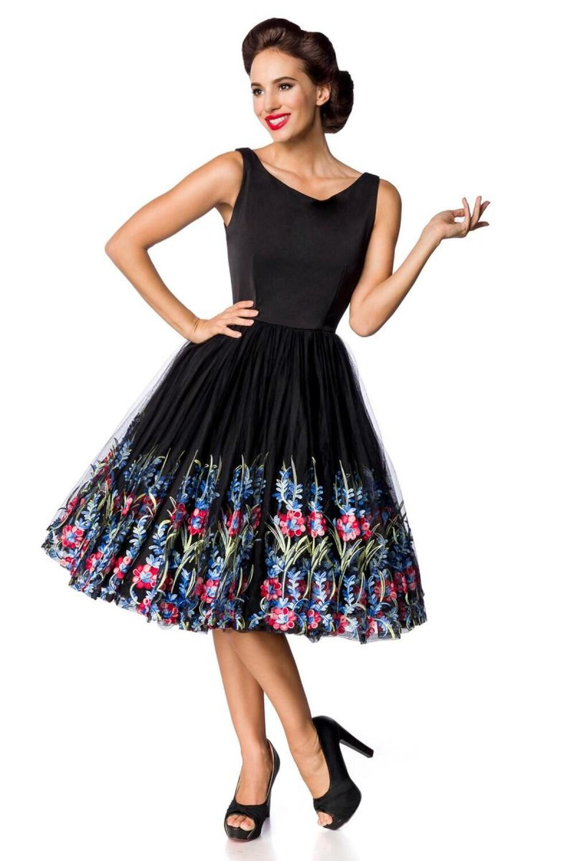 Blumenrock Kleid Schwarz Vintage Mit Gesticktem Damen Tcl31uFKJ5