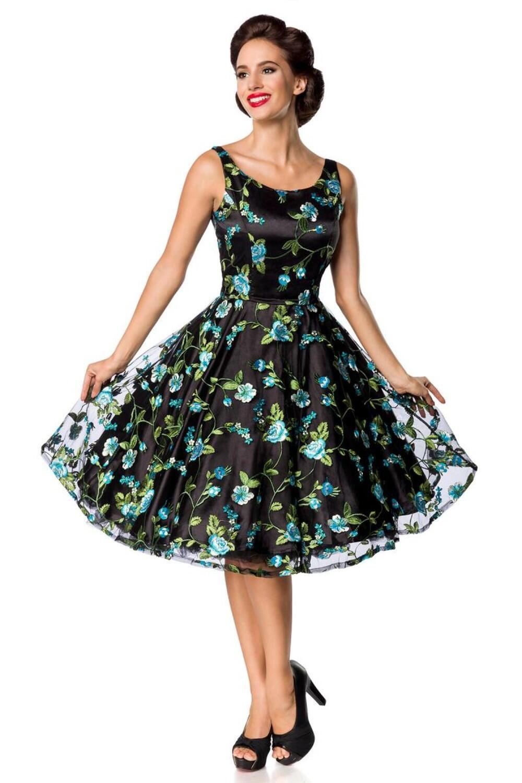 Damen Vintage Kleid Blumenkleid schwarz-blau - Faschingskram