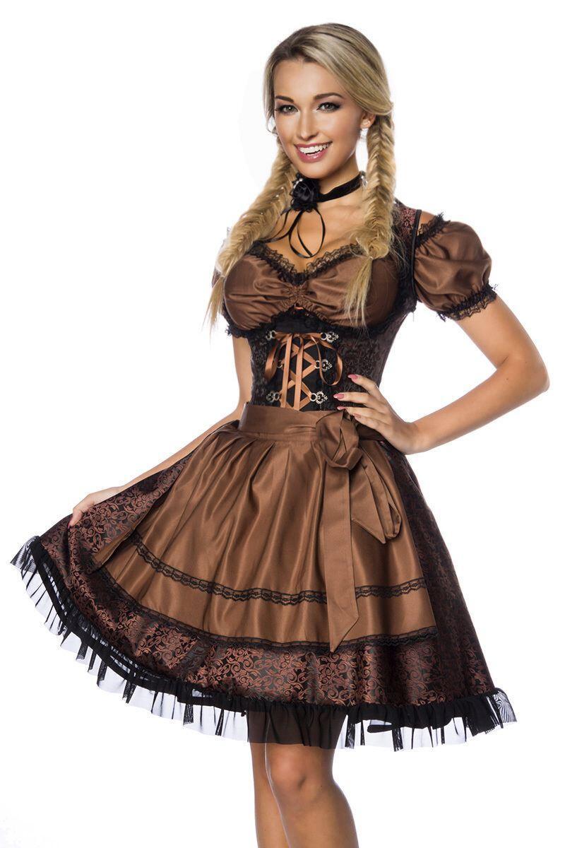 Dirndl Kleid Jaquard braun - Faschingskram