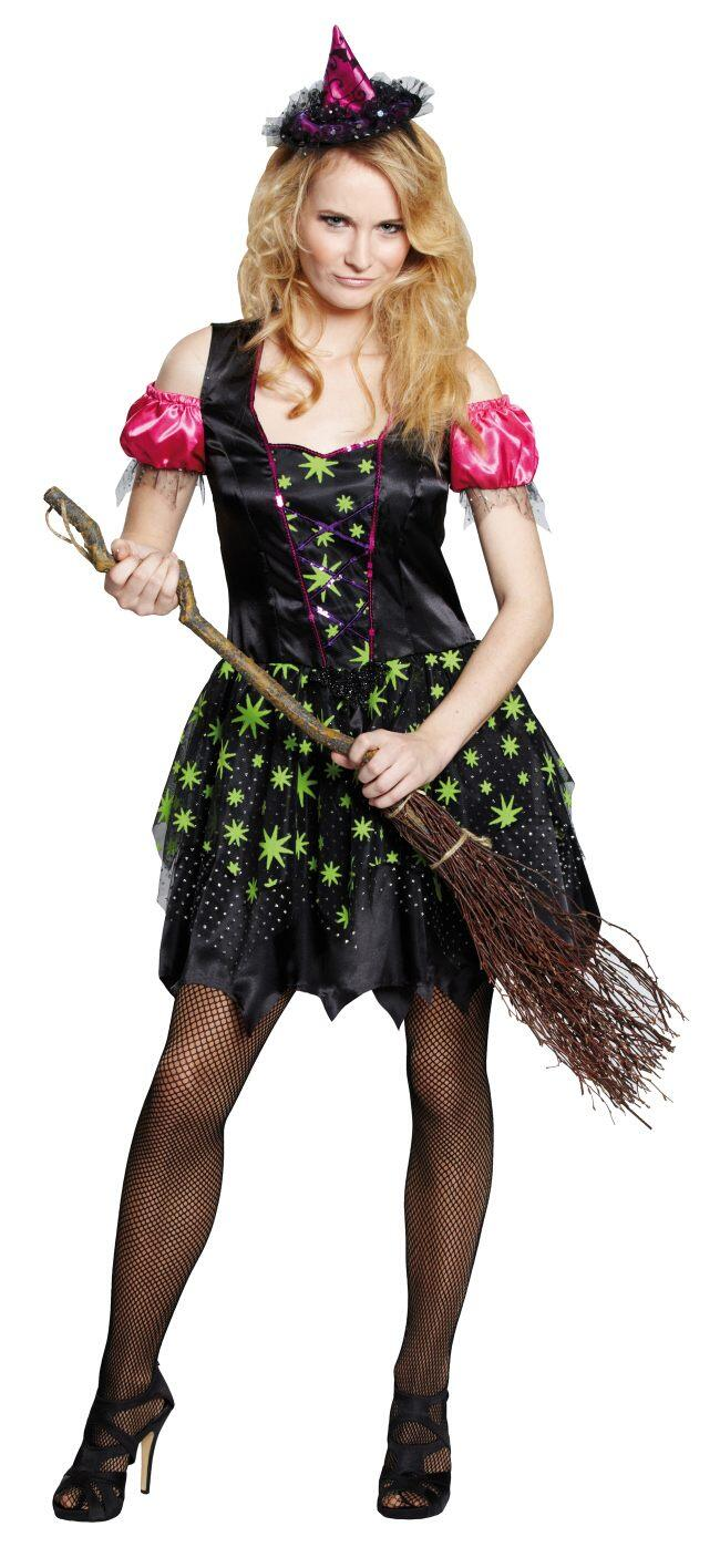 Karneval Halloween Damen Kostüm Hexe Magic Witch