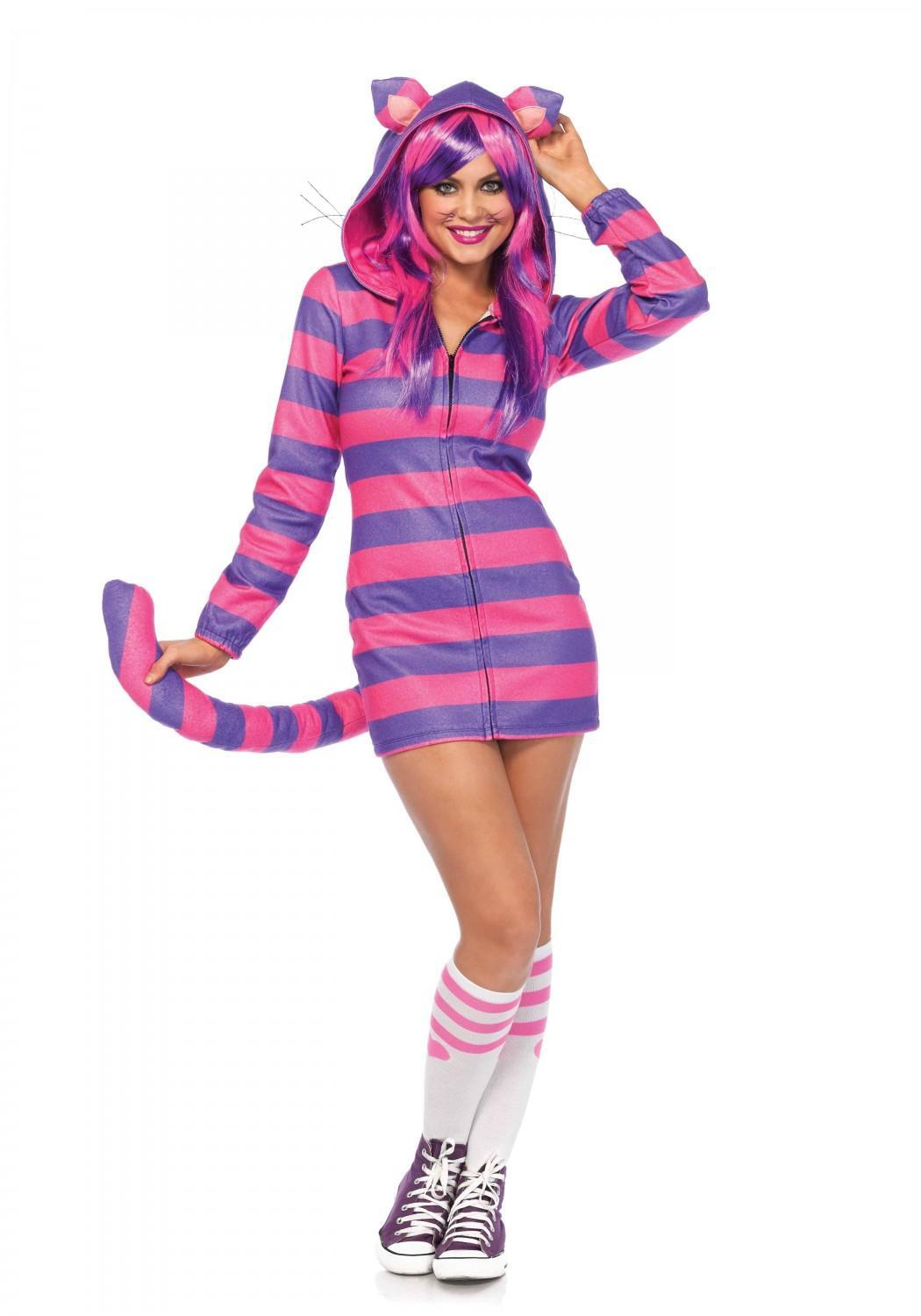 Karneval Damen Kostüm Grinsekatze Cheshire Cat Fleece