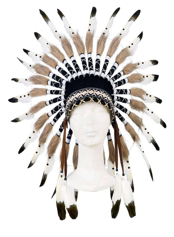 Karneval Indianer Kopfschmuck Kinder Ituha Schwarz Weiss