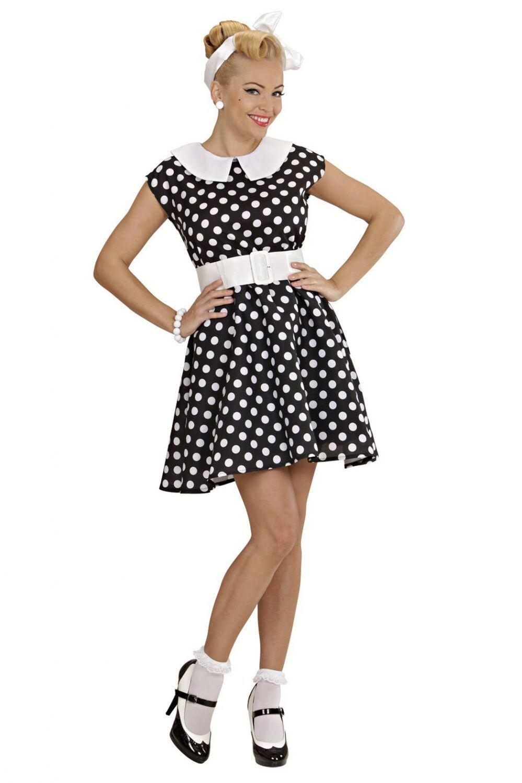 Karneval Damen Kostum 50er Jahre Kleid Schwarz Faschingskram