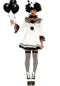 Karneval Halloween Damen Kostüm Pierrot Clown