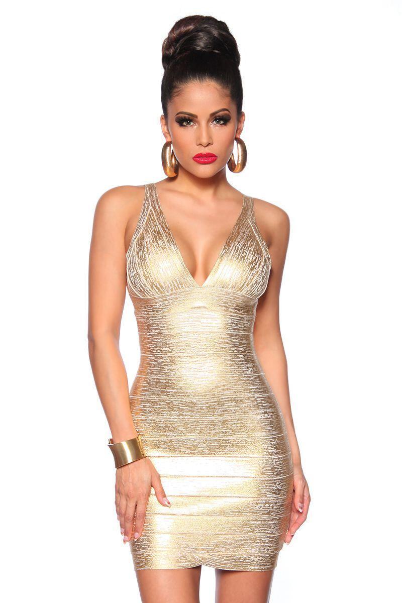 Damen Partykleid Bandage Shape Kleid gold - Faschingskram