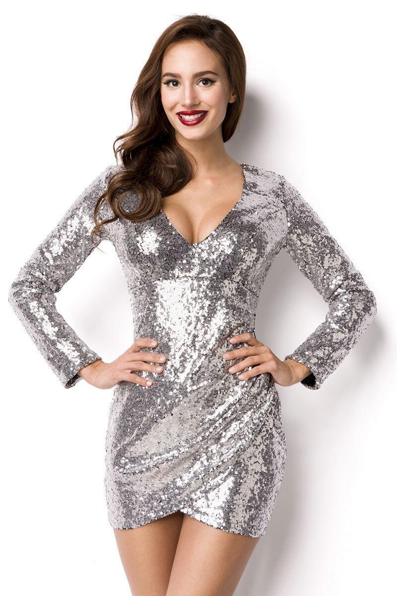 Damen Partykleid Pailletten-Kleid silber - Faschingskram