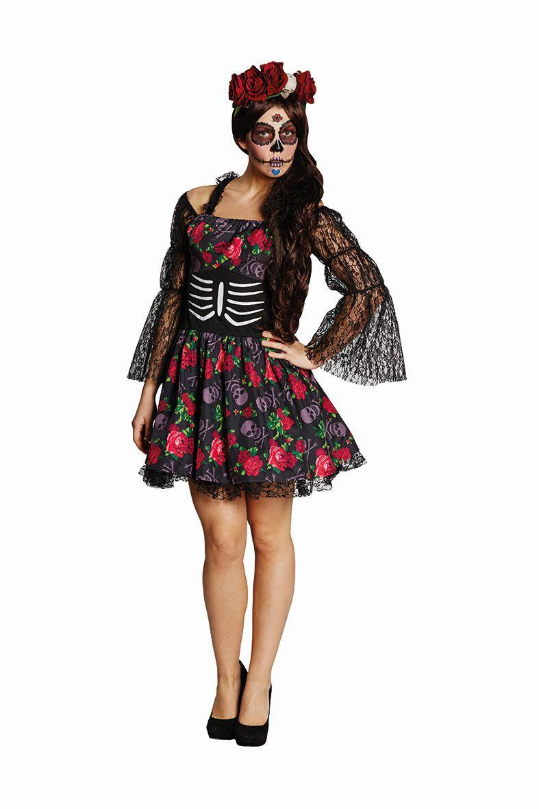 karneval halloween damen kost m la catrina faschingskram. Black Bedroom Furniture Sets. Home Design Ideas