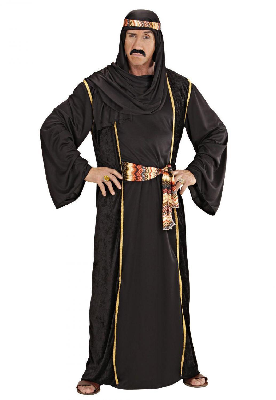 Karneval Herren Kostüm Arabischer Scheich schwarz - Faschingskram