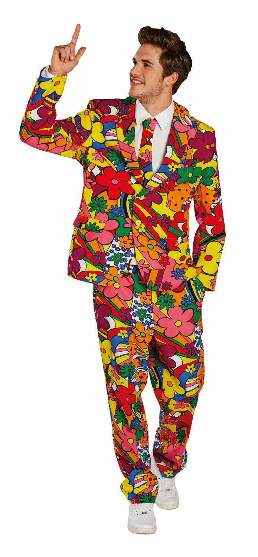 karneval herren kost m herrenanzug hippie flower power. Black Bedroom Furniture Sets. Home Design Ideas