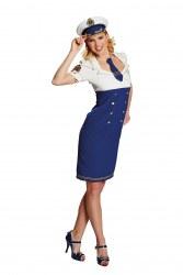 Karneval Damen Kostüm Stewardess Starsister blau