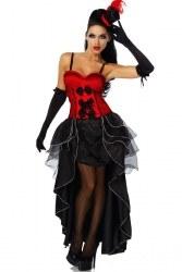 Karneval Damen Kostüm Burlesque rot