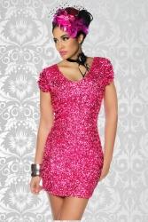 Mini Kleid mit Pailletten pink