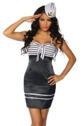 Damen Kleid Vintage Marine