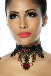 Gothic-Collier Halsband mit roten Steinen
