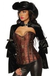 Damen Corsage Piratin Steampunk braun