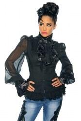 Damen Longbluse Gothic schwarz