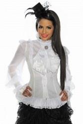 Damen Longbluse Gothic weiß