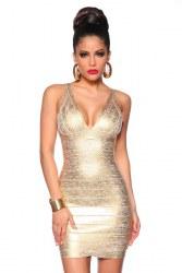 Damen Partykleid Bandage Shape Kleid gold
