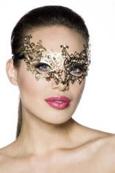 Karneval Damen Maske Metall gold
