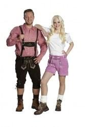 Oktoberfest Damen Lederhose pink