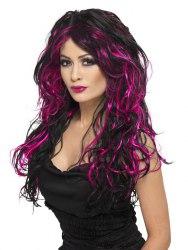 Karneval Halloween Damen Perücke Gothic Braut schwarz pink