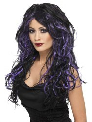 Karneval Damen Perücke Gothic Vampir schwarz purple