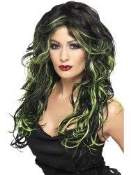 Karneval Halloween Damenperücke Gothic Braut schwarz grün