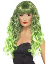 Karneval Damen Perücke Siren grün schwarz