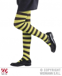 Karneval Halloween Kinder Strumpfhose Ringel neon gelb