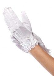 Leg Avenue Kinder Satin Handschuhe weiß