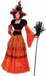 Karneval Halloween Damen Kostüm Hexe Pumpkina