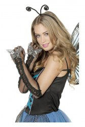 Karneval Damen Handschuhe mit Pailletten-Schmetterling