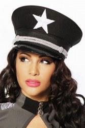 Atixo Damen Hut Offiziers-Mütze schwarz
