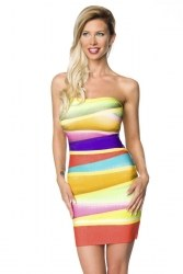 Atixo Damen Partykleid Bandage-Shape-Kleid bunt