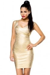 Atixo Damen Partykleid Bandage Shape Kleid gold