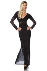 Atixo Damen Partykleid langes Bandage-Shape-Kleid schwarz