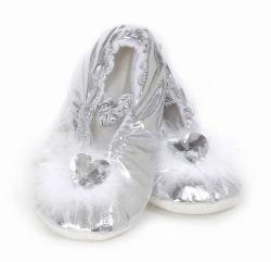 Schuhe Mädchen Slipper silber