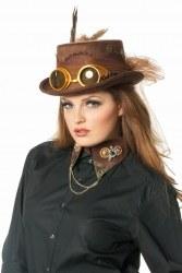 Karneval Damen Hut Steampunk Zylinder mit Brille braun