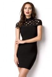Damen Partykleid Bandage Shape Kleid Gitter schwarz