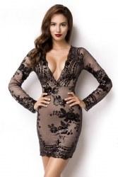 Damen Partykleid Pailletten-Kleid Flora
