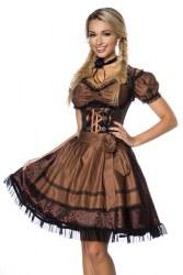 Dirndline Oktoberfest Damen Dirndl Jaquard braun