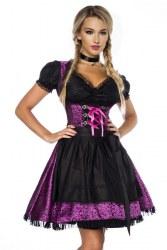 Dirndline Oktoberfest Damen Dirndl Jaquard lila