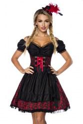 Dirndline Oktoberfest Damen Dirndl Jaquard rot