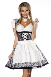 Dirndline Oktoberfest Damen Dirndl Jaquard silber