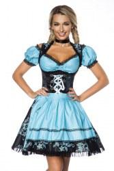 Dirndline Oktoberfest Damen Dirndl Jaquard türkis