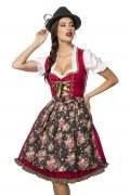 Dirndline Oktoberfest Dirndl rot mit geblümter Denimschürze